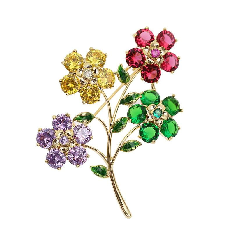 Crystal Cubic Zirconia Flower Brooch Broach Pin  HR04105 - sepbridals