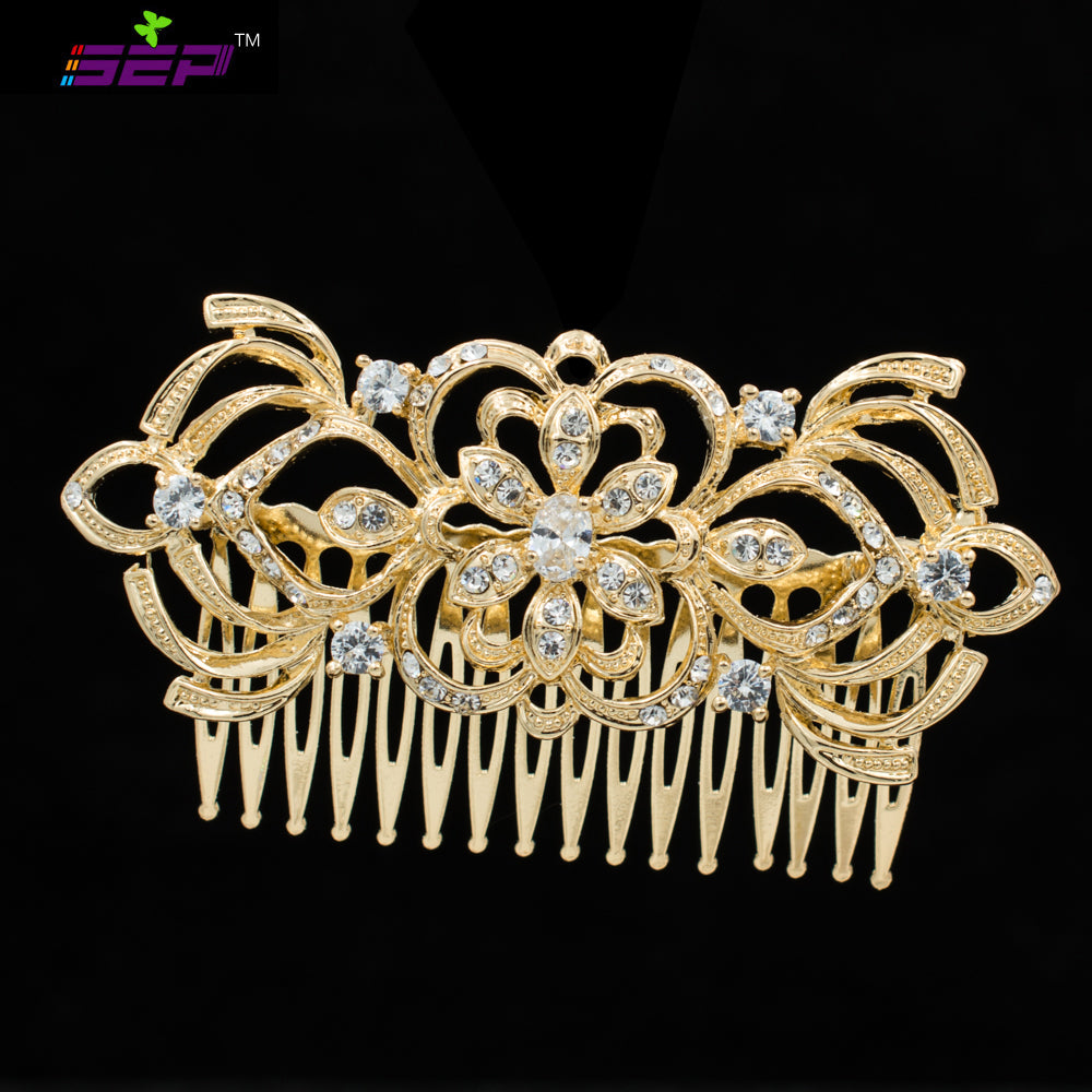 Flower Rhinestone Crystals Hair Comb Bridal Wedding Hair  Accessories CO4011 - sepbridals