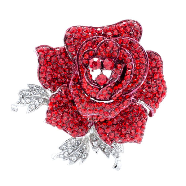 Crystals Rhinestone Rose Brooch Leaves Flower Broach  FB1077
