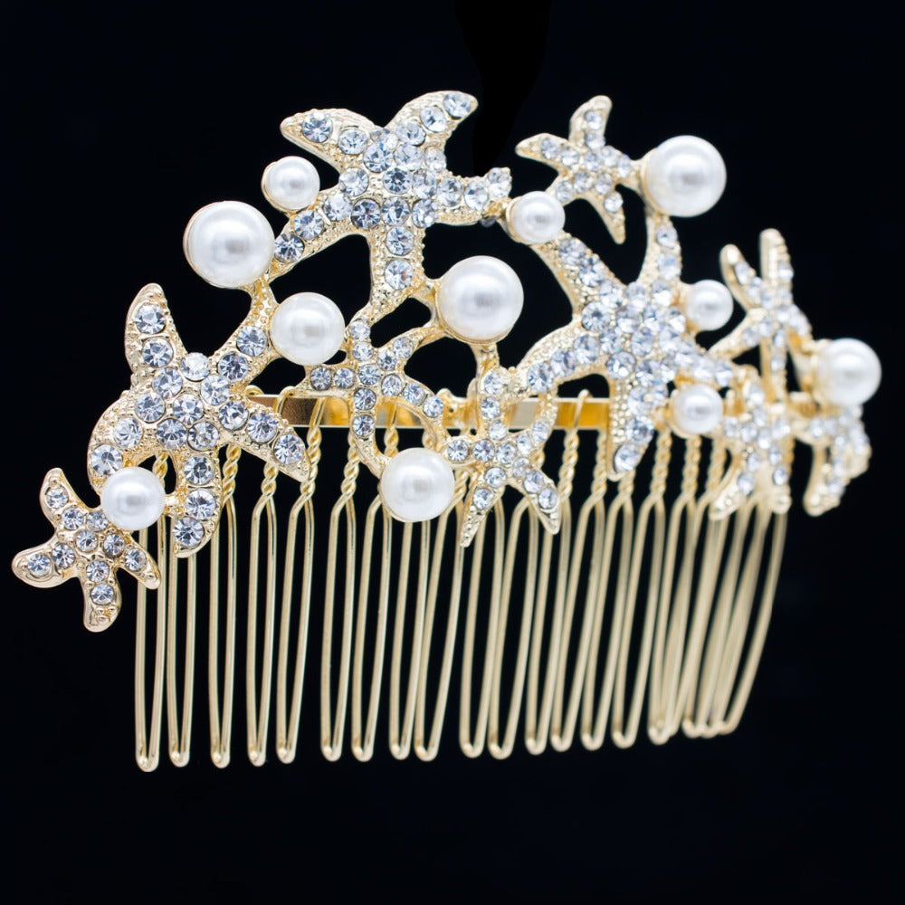 Trendy Starfish Rhinestone Crystals Hair Combs Imitation Pearls FA201592 - sepbridals
