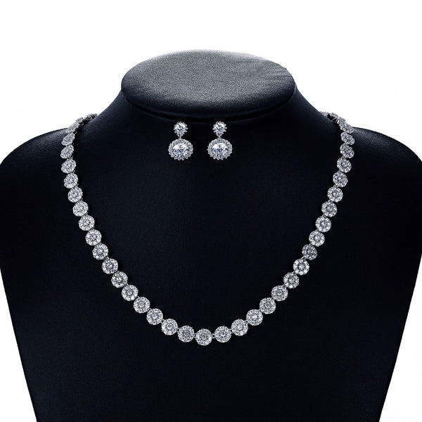 Cubic zirconia bride wedding necklace earring set top quality  CN10066