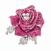 Crystals Rhinestone Rose Brooch Leaves Flower Broach  FB1077 - sepbridals