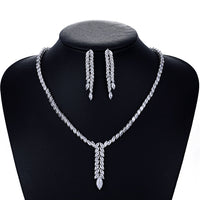 Cubic zirconia bride wedding necklace earring set top quality  CN10080 - sepbridals