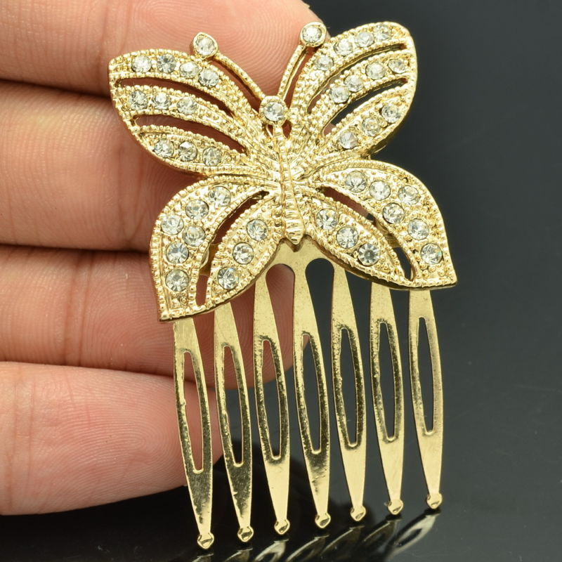 Rhinestone Crystals Butterfly Hair Side Comb Wedding Hair  Accessories  COXBY054 - sepbridals