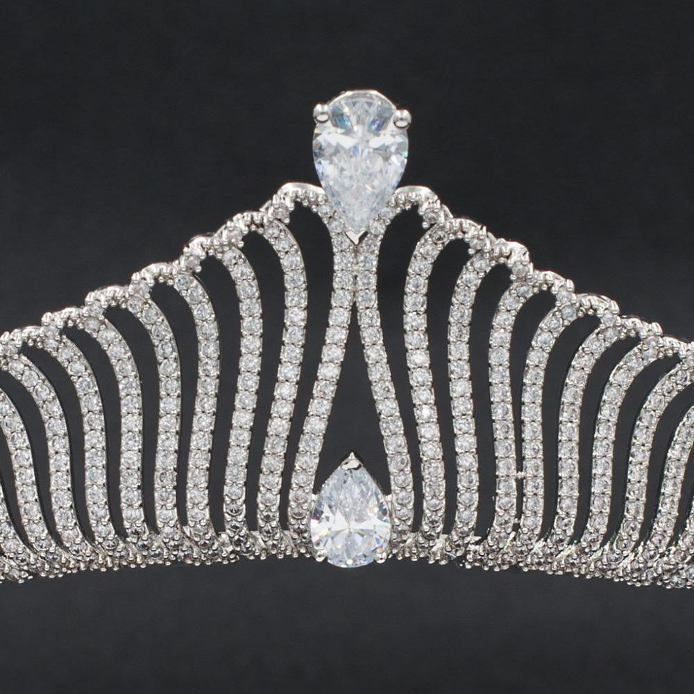 Cubic zirconia wedding bridal tiara diadem hair jewelry S90011T1 - sepbridals
