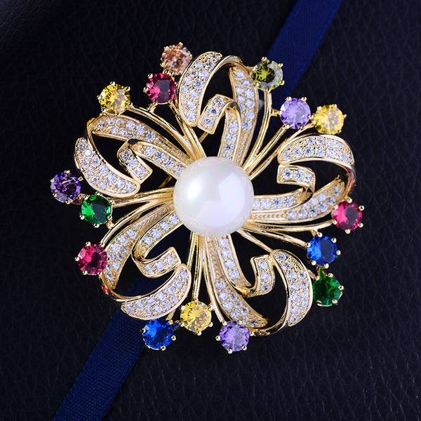Gorgous Jewelry Accessory Cubic Zircon Flower Brooches  R02530