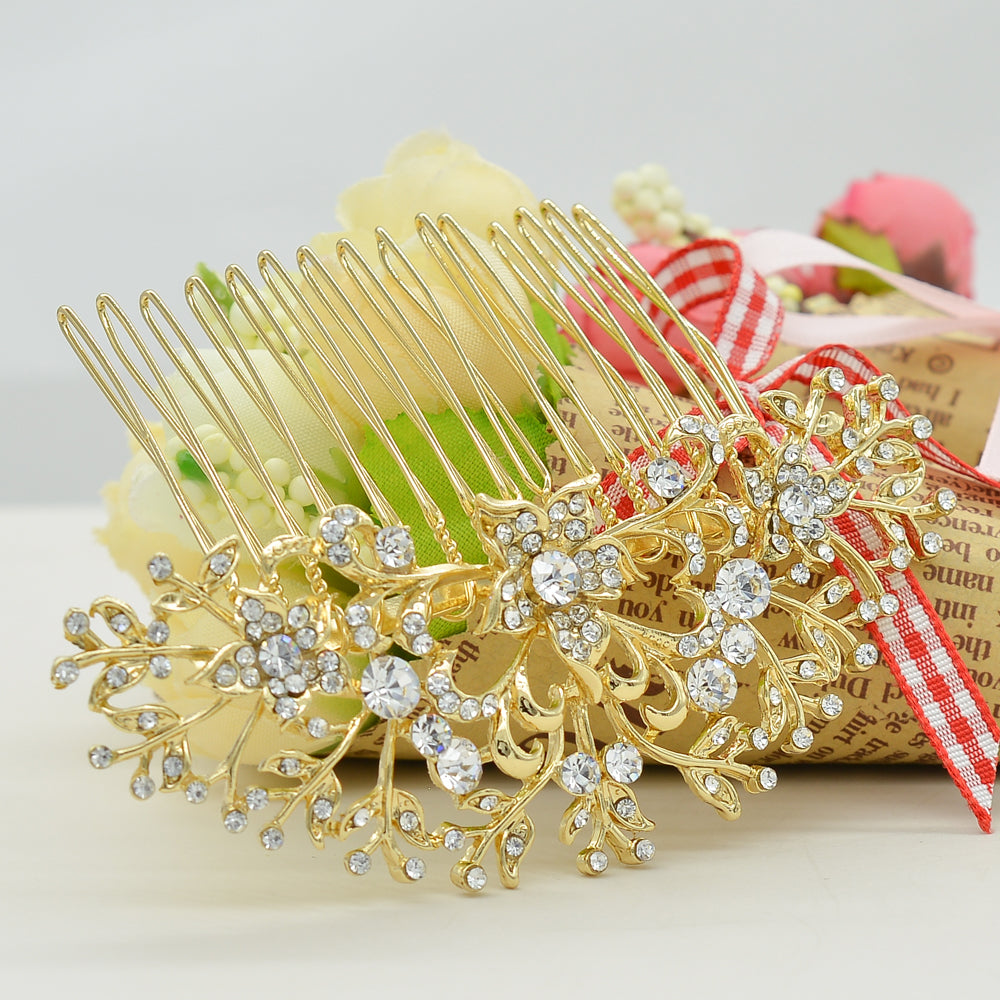 Rhinestone Crystals Flower Women Hair Comb Bridal Wedding  2257R - sepbridals