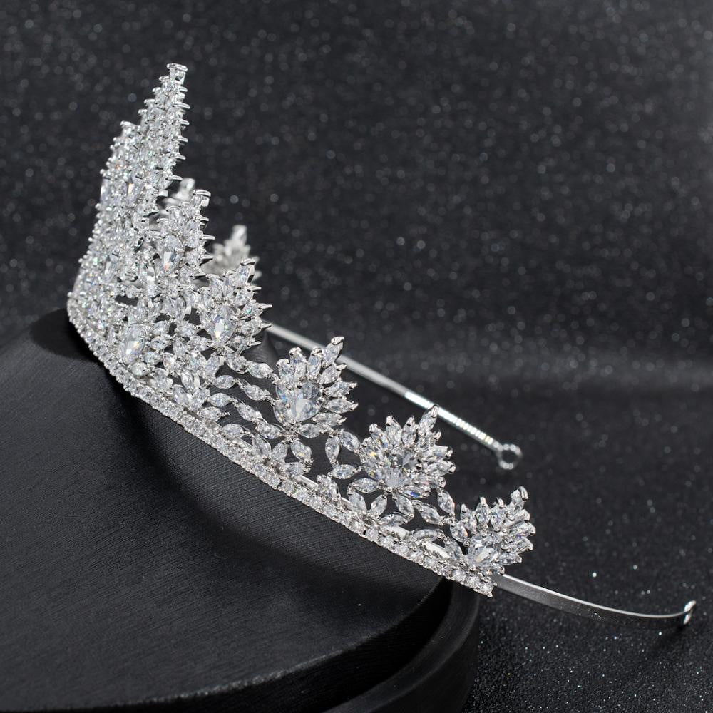 6cm Cubic Zirconia Wedding Bridal Tiara Diadem Hair Accessories CH10280 - sepbridals