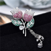 Tulip Brooch Copper Micro-Inlaid Zircon Tassel Flower Brooch XZ0171 - sepbridals