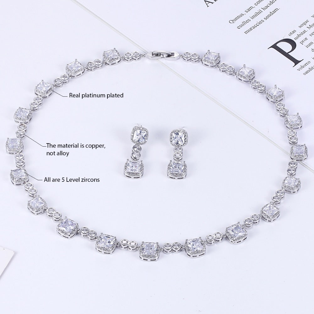 Cubic zirconia bride wedding necklace earring set top quality CN10146 - sepbridals
