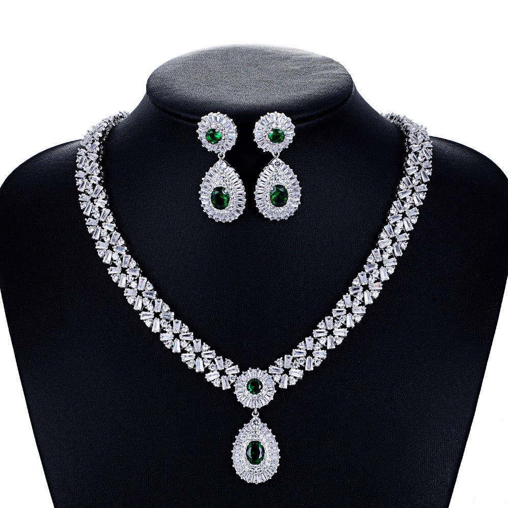 Cubic zirconia bride wedding necklace earring set top quality CN10086 - sepbridals