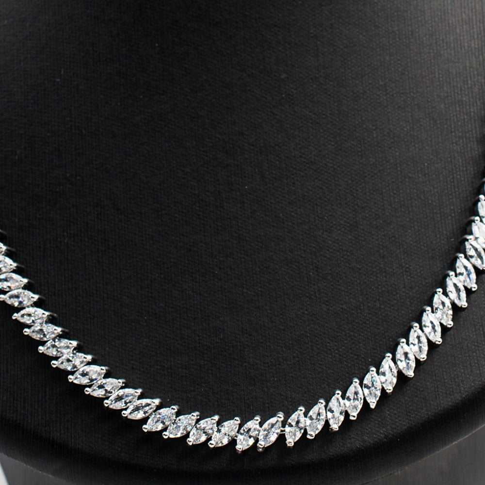 Cubic zirconia bride wedding necklace earring set top quality CN10083 - sepbridals