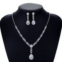 Cubic zirconia bride wedding necklace earring set top quality CN10125 - sepbridals