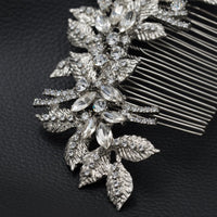Rhinestone Crystals Bride Wedding Leaves Hair Side Comb XBY688 - sepbridals