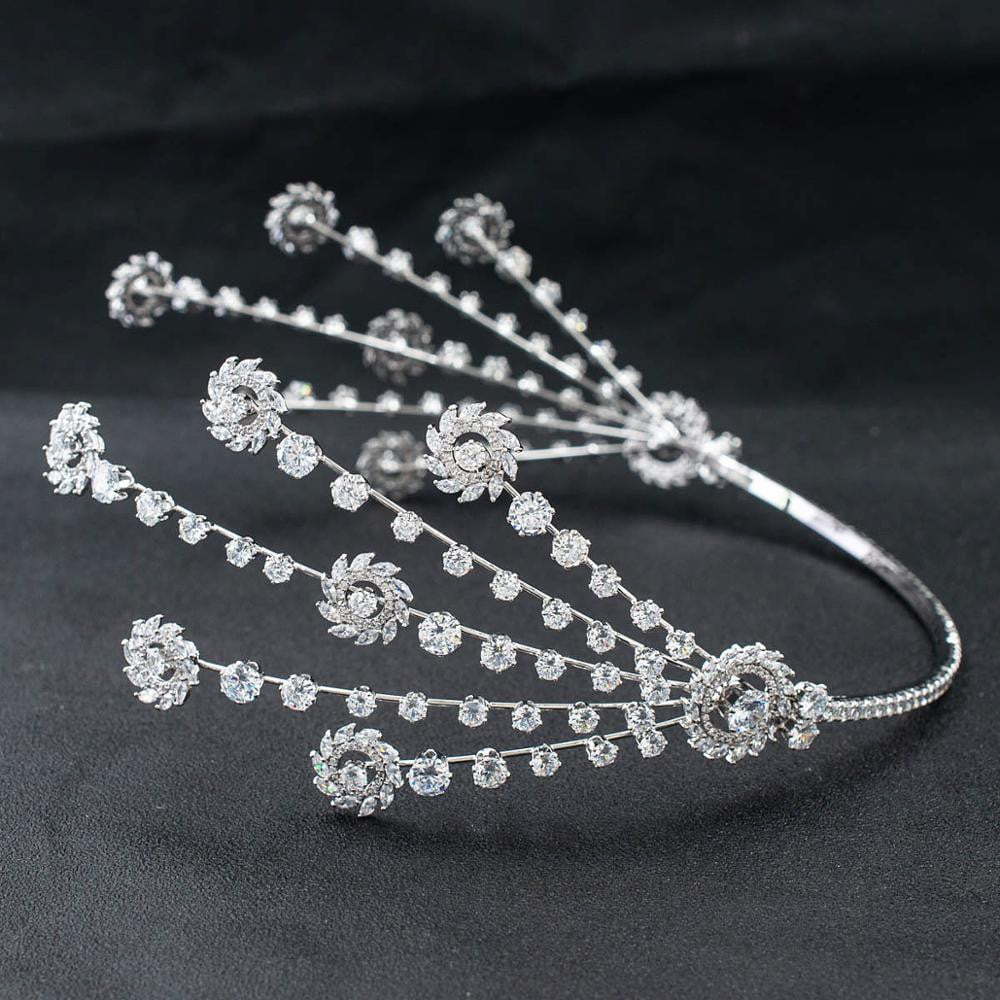 3/4 Round Cubic Zirconia Bridal Wedding Leaves Headband Hair Band Tiara for Women CHA10045 - sepbridals