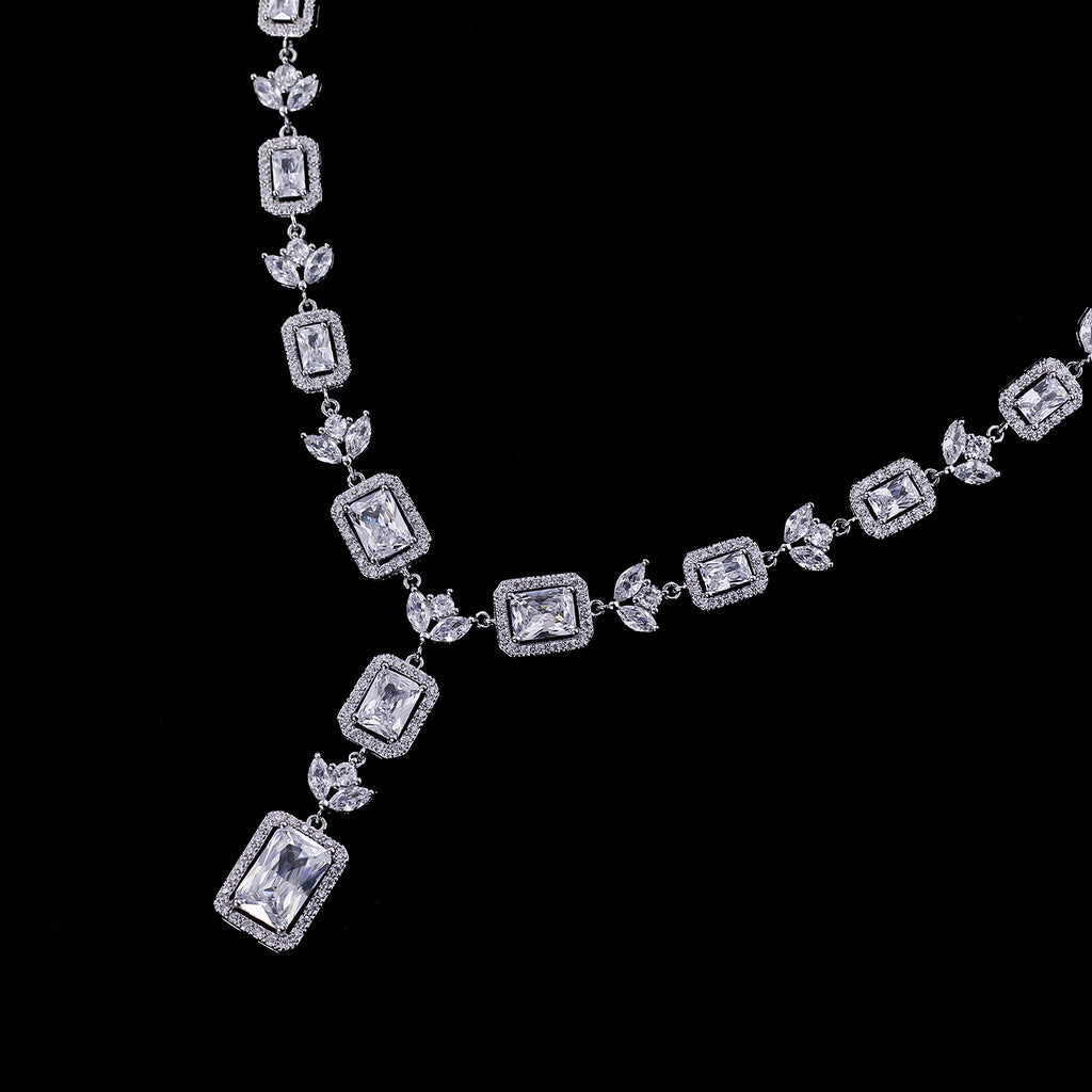 Cubic zirconia bride wedding necklace earring set top quality  CN10230 - sepbridals