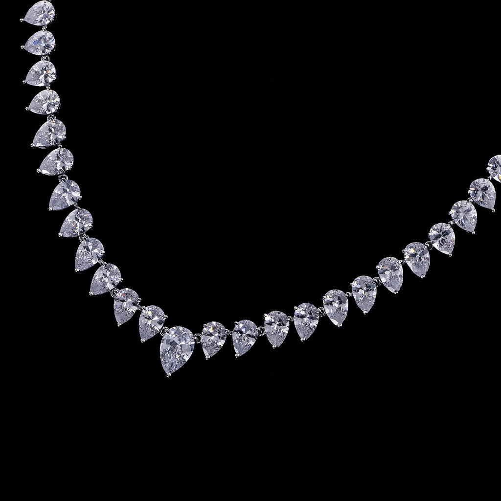 Cubic zirconia bride wedding necklace earring set top quality  CN10271 - sepbridals