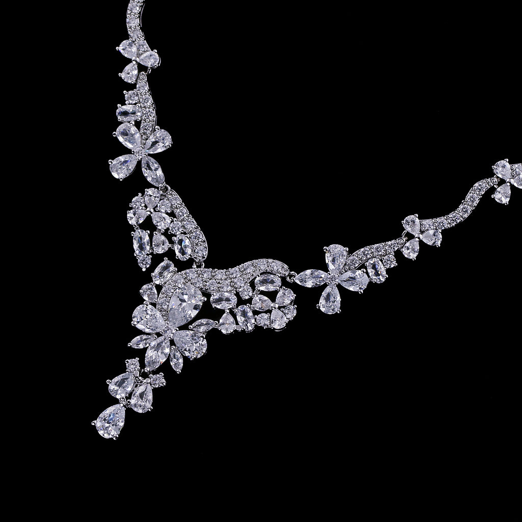 Cubic zirconia bride wedding necklace earring set top quality  CN10276 - sepbridals