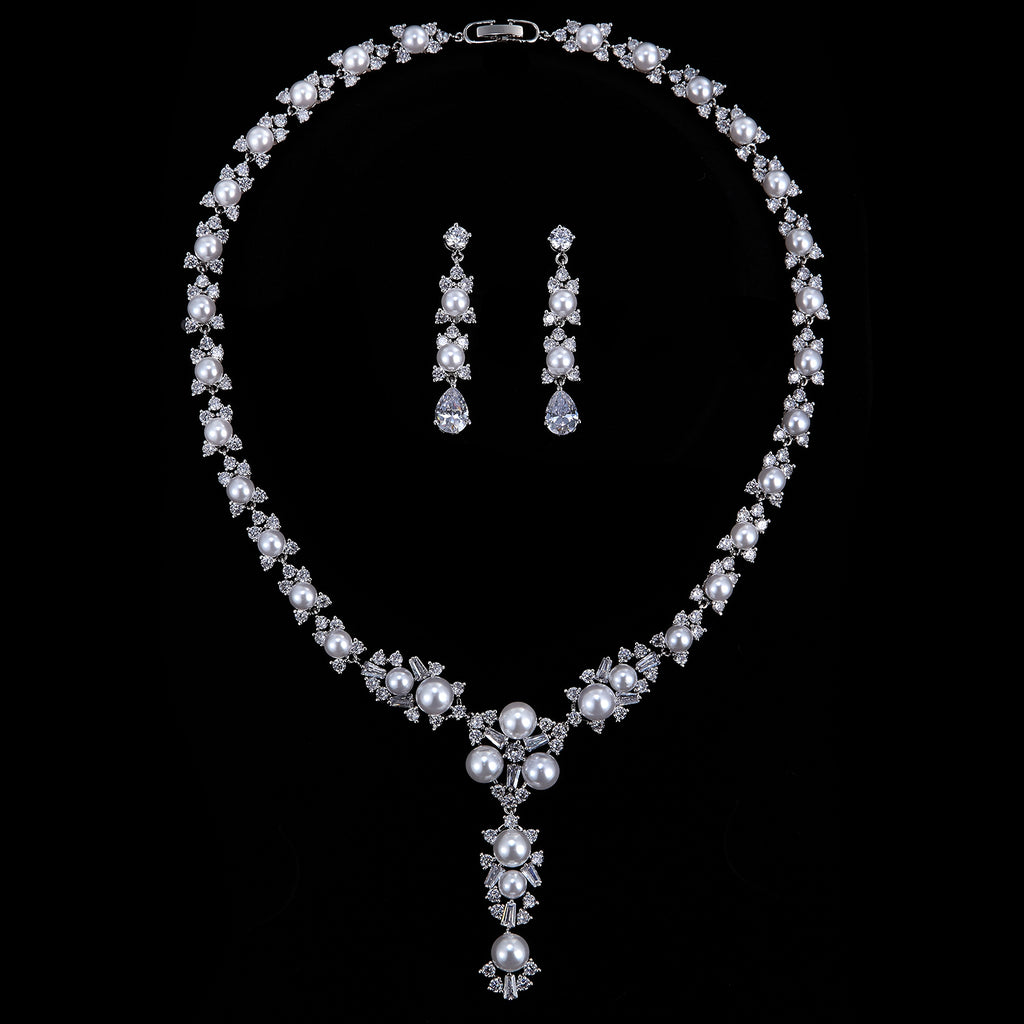 Cubic zirconia bride wedding necklace earring set top quality CN10239 - sepbridals