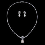 Cubic zirconia bride wedding necklace earring set top quality CN10266 - sepbridals