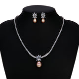 Cubic zirconia bride wedding necklace earring set top quality CN10266-1 - sepbridals
