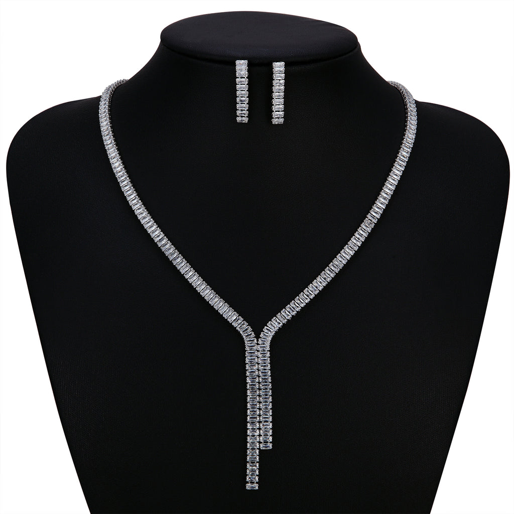 Cubic zirconia bride wedding necklace earring set top quality CN10263 - sepbridals