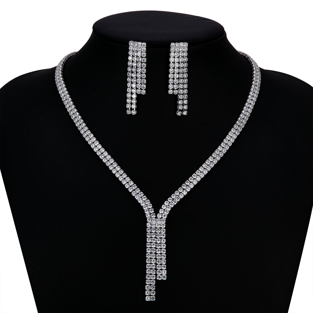 Cubic zirconia bride wedding necklace earring set top quality CN10262 - sepbridals