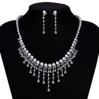 Cubic zirconia bride wedding necklace earring set top quality CN10249 - sepbridals