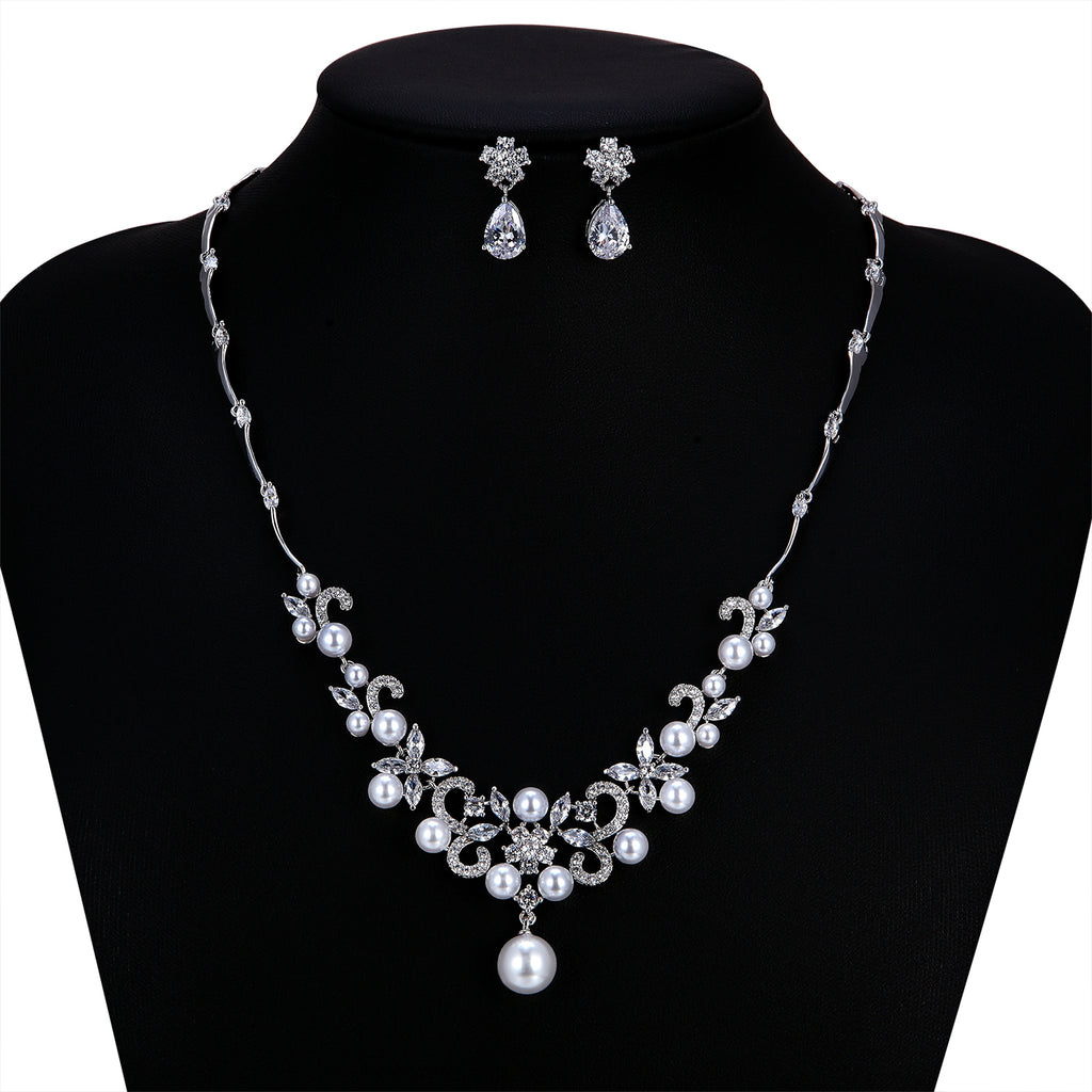Cubic zirconia bride wedding necklace earring set top quality CN10253 - sepbridals