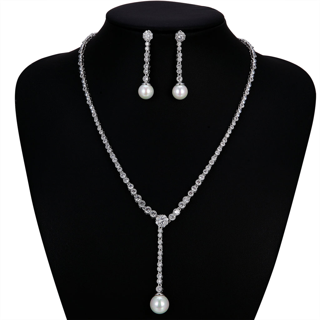 Cubic zirconia bride wedding necklace earring set top quality  CN10233 - sepbridals