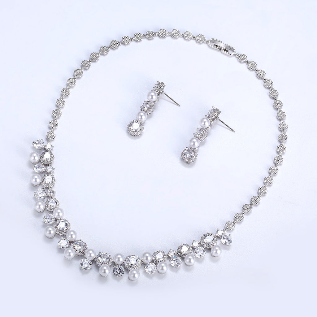 Cubic zirconia bride wedding necklace earring set top quality CN10238 - sepbridals