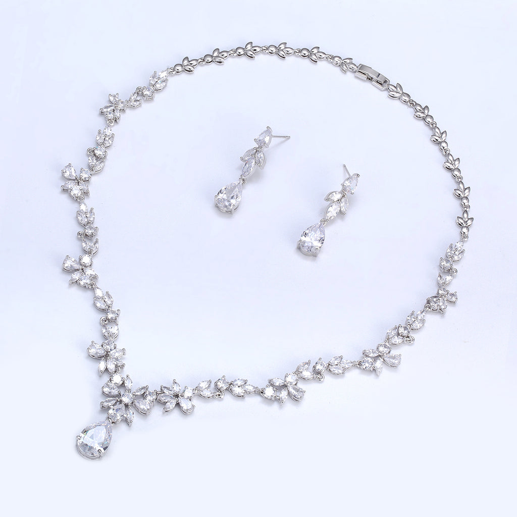 Cubic zirconia bride wedding necklace earring set top quality CN10241 - sepbridals