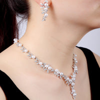 Cubic zirconia bride wedding necklace earring set top quality CN10250 - sepbridals