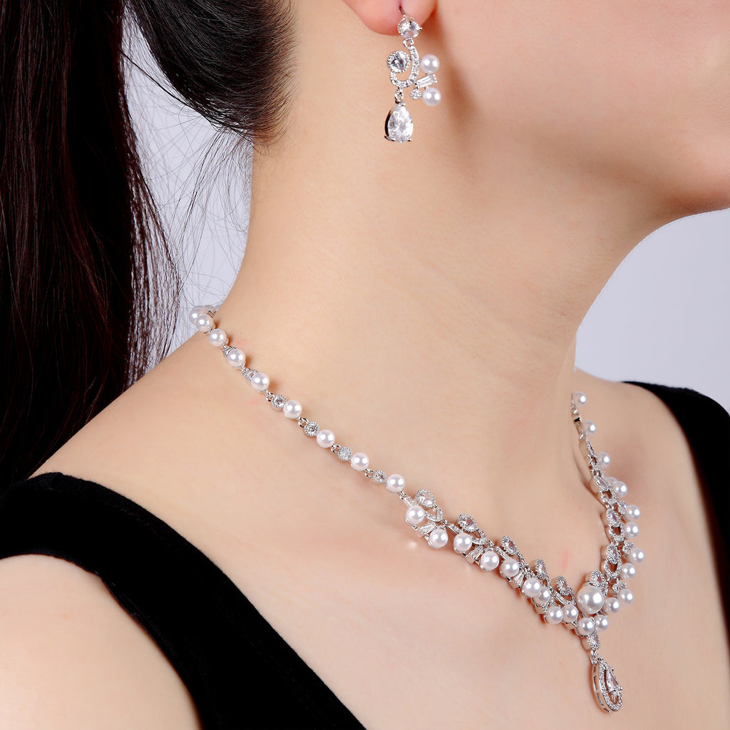 Cubic zirconia bride wedding necklace earring set top quality  CN10234 - sepbridals