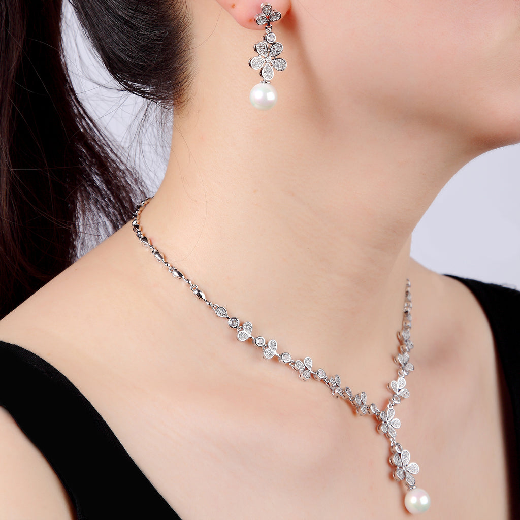 Cubic zirconia bride wedding necklace earring set top quality CN10267 - sepbridals