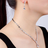 Cubic zirconia bride wedding necklace earring set top quality  CN10152 - sepbridals