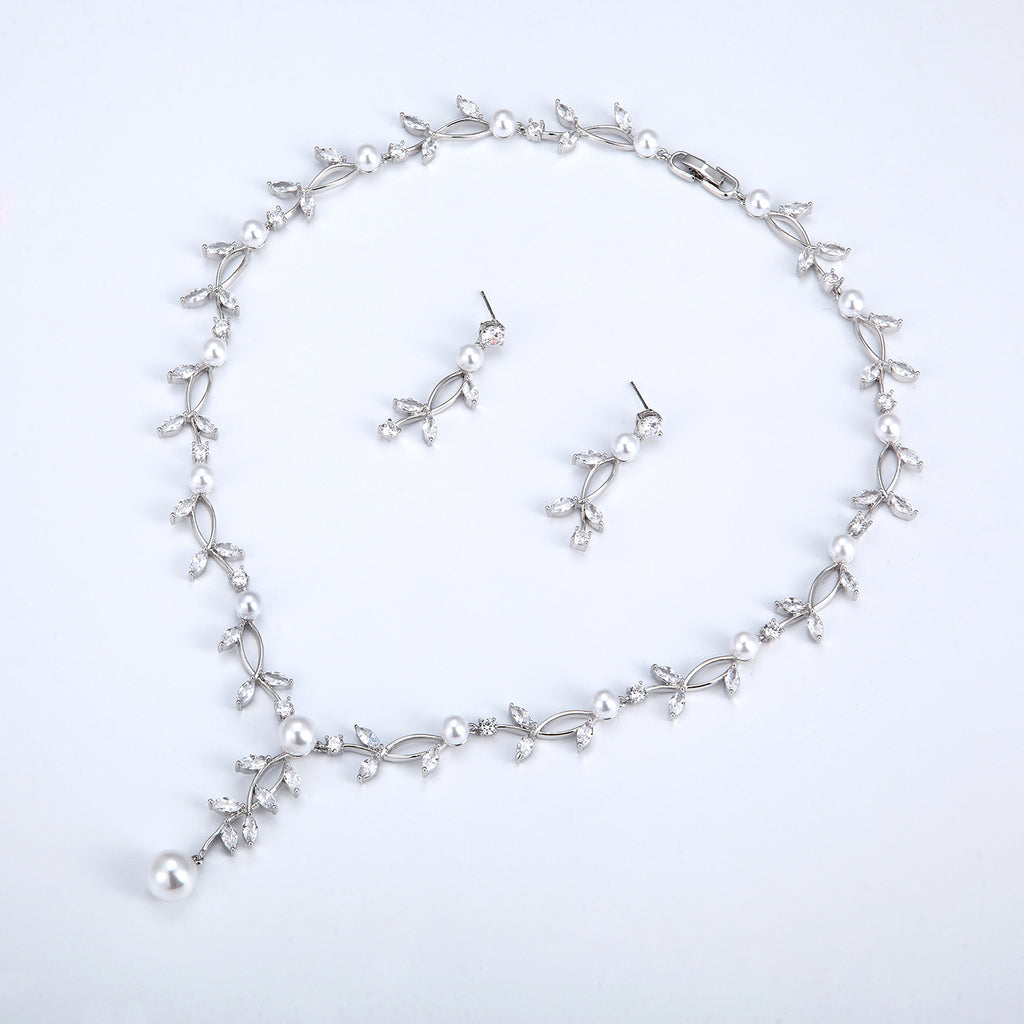 Cubic zirconia bride wedding necklace earring set top quality CN10252 - sepbridals