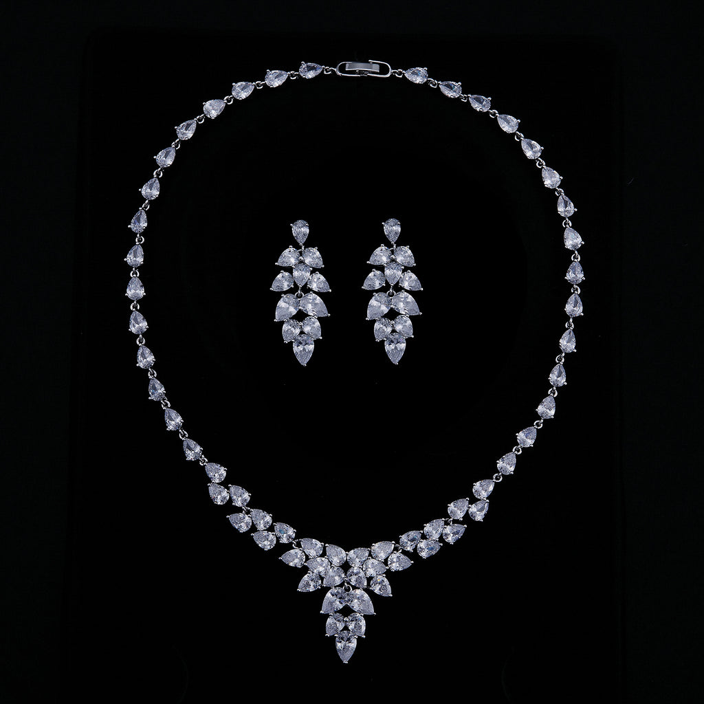 Cubic zirconia bride wedding necklace earring set top quality  CN10278 - sepbridals