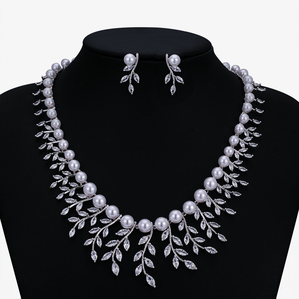 Cubic zirconia bride wedding necklace earring set top quality CN10300 - sepbridals