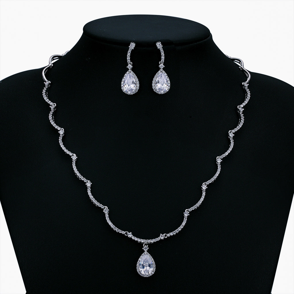 Cubic zirconia bride wedding necklace earring set top quality  CN10026 - sepbridals