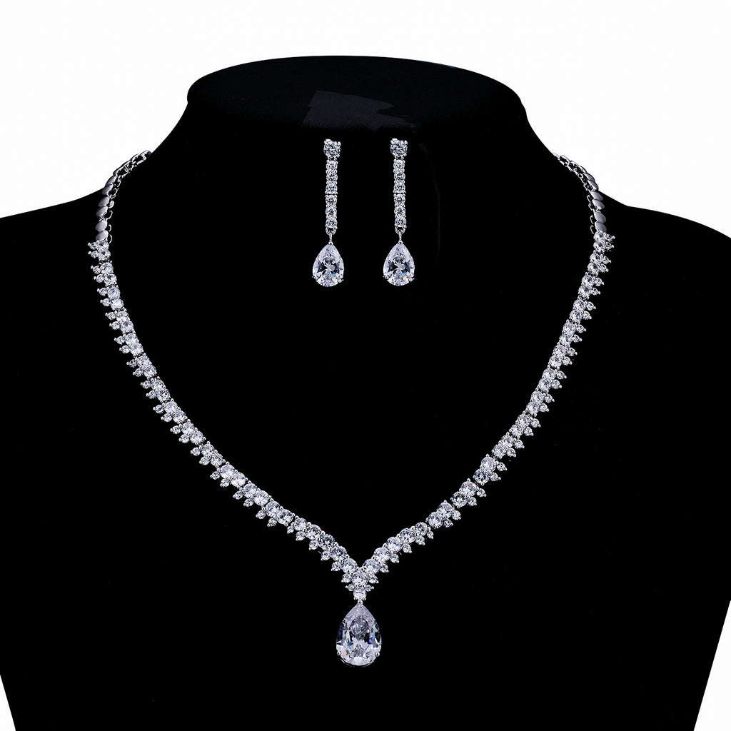 Cubic zirconia bride wedding necklace earring set top quality  CN10036 - sepbridals