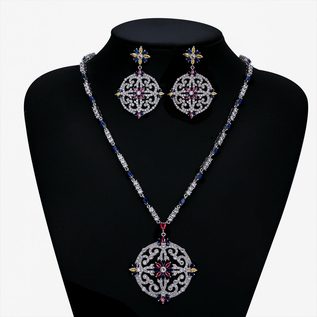 Cubic zirconia bride wedding necklace earring set top quality  CN10191 - sepbridals
