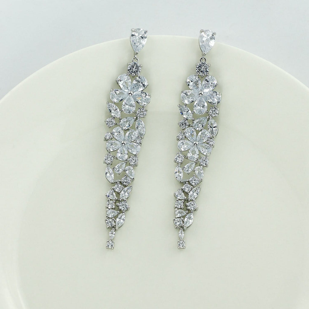 Crystal Cubic Zirconia CZ Copper Water Drop Dangle Earring CE10688 - sepbridals