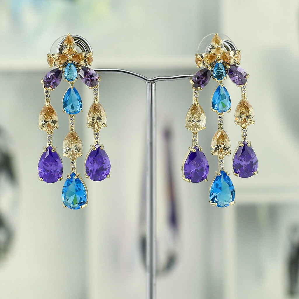 Crystal Cubic Zirconia CZ Copper Water Drop Dangle Earring CE10838 - sepbridals