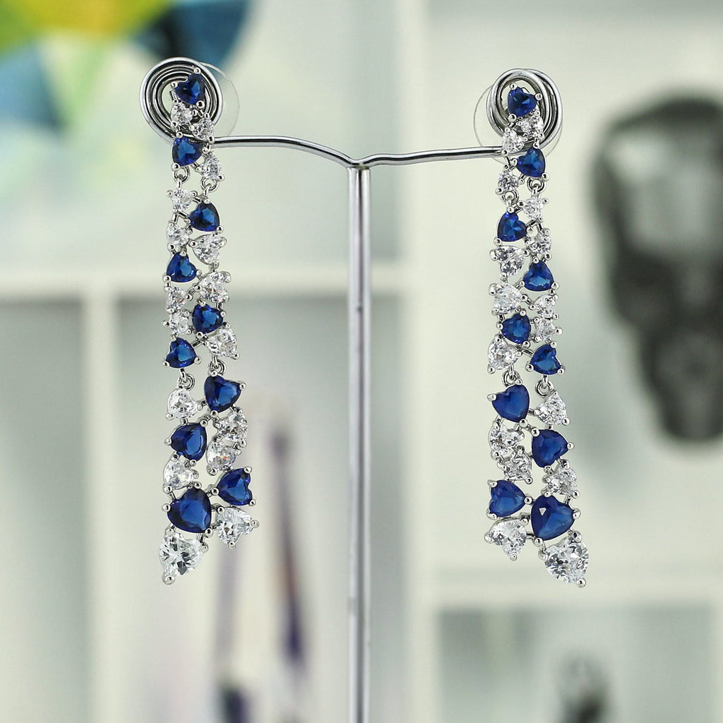 Crystal Cubic Zirconia CZ Copper Water Drop Dangle Earring CE10858 - sepbridals