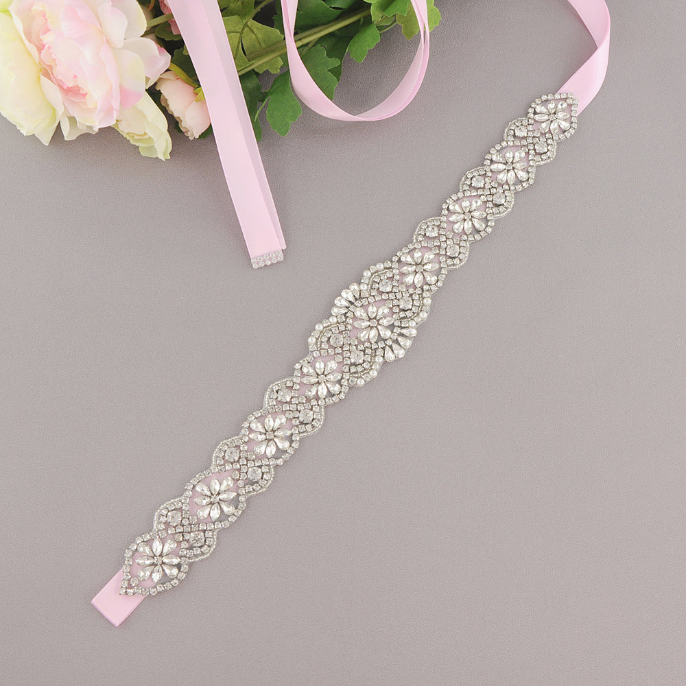 Handmade Rhinestone Crystals Wide Wedding Dress Sash Belt S161B-SIL - sepbridals