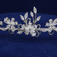 Cubic Zirconia Leaves Tiara Crown for Bridal Wedding HG45 - sepbridals