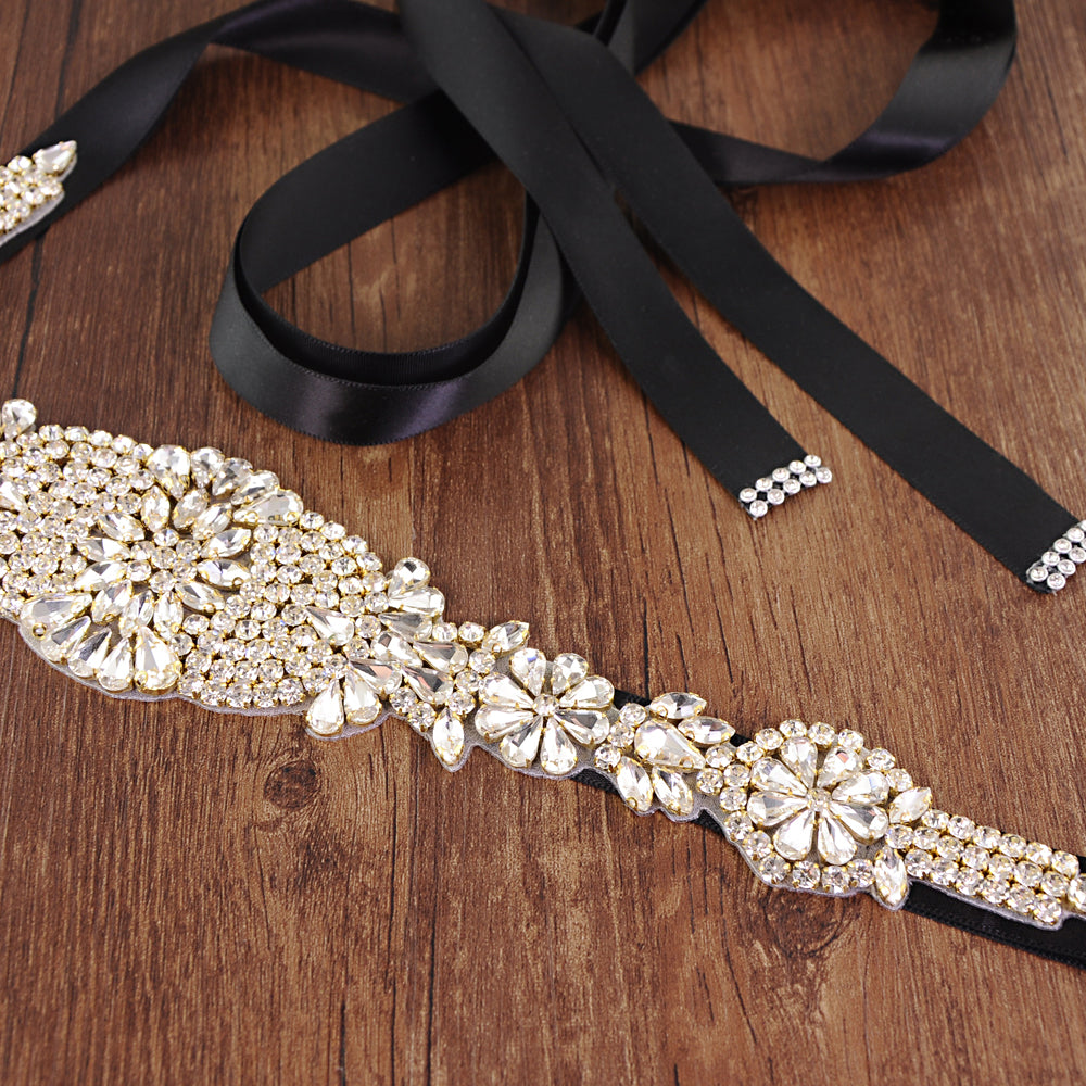 Handmade Rhinestone Crystals Wide Wedding Dress Sash Belt S123-Gold - sepbridals