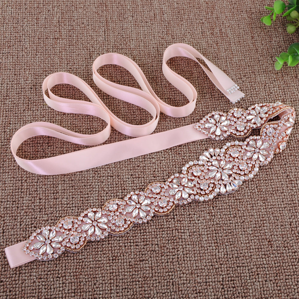 Handmade Rhinestone Crystals Wide Wedding Dress Sash Belt S161B-RGL - sepbridals