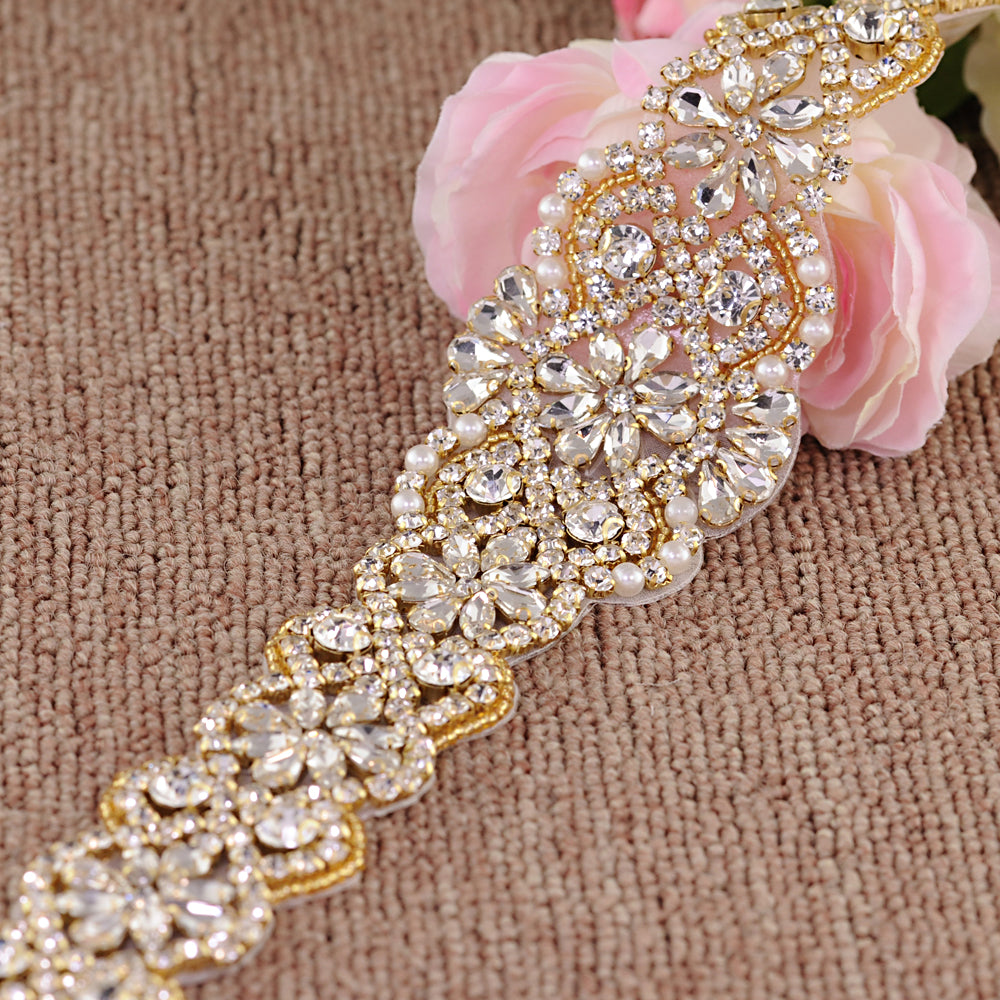 Handmade Rhinestone Crystals Wide Wedding Dress Sash Belt S161B-GOL - sepbridals
